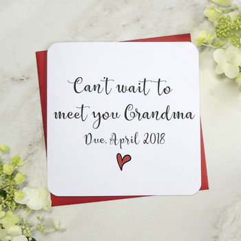 'Can't Wait To Meet You Grandmother' Personalised Card