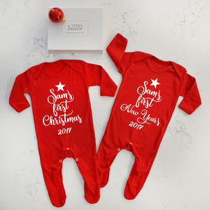 Personalised First Christmas And First New Year's Set - clothing