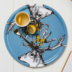 'Scottish Stags' Birchwood Serving Tray - dining room