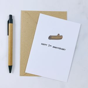 'Happy 5th Anniversary' Wood Card