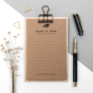 Book Lover Gift To Do Lists On Mini Clipboard