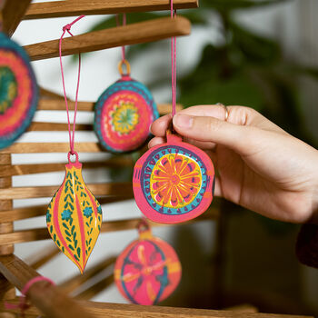 Wooden Hand Printed Bauble Decorations