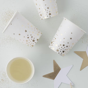 Gold Star Foiled Paper Party Cups - summer sale