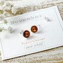 November Birthstone Sterling Silver Stud Earrings