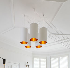 Brushed Copper Or Gold Tube Chandelier In White - dining room