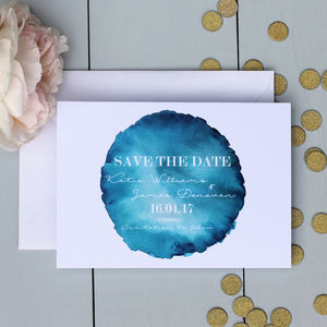 Bold Watercolour Save The Date Card - table decorations