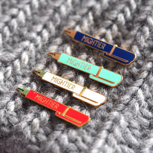 Mightier Pen Pin Badge - tie pins & clips