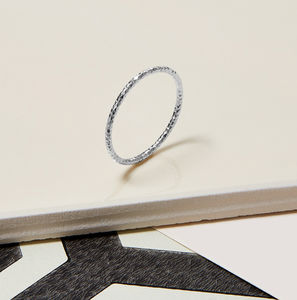 Sterling Silver Skinny Faceted Stacking Ring - rings