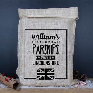 Personalised Vegetable Hessian Sack Grown In Britain