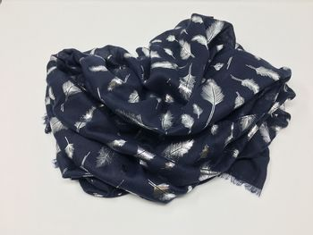 Feather Metallic Silver Printed Scarf