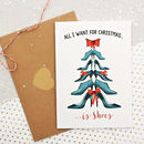 Christmas Shoe Tree Greetings Card With Diamantes