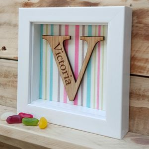 Personalised Oak Letter Frame - mixed media & collage