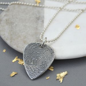 Ink Fingerprint Personalised Guitar Plectrum Necklace