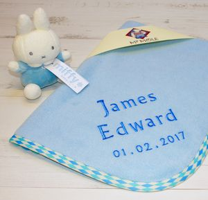 Personalised Blue Baby Blanket With Soft Toy