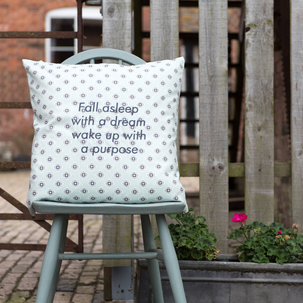 Personalised Embroidered Cushion Garden Green Grey