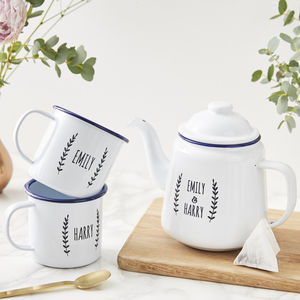 Personalised Enamel Teapot - best wedding gifts