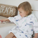 Personalised Shark Print Towelling Poncho