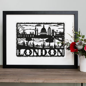 London Skyline Folk Art Papercut - posters & prints