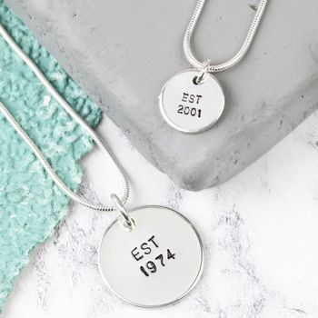 Personalised Sterling Silver Disc Charm Necklace