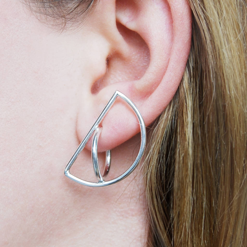 Semi Circle Solid Silver Stud Hoop Drop Earrings