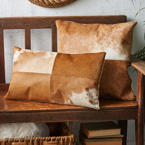 Pale Brown Cowhide Cushion - patterned cushions