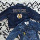 Kids Personalised Denim Jacket Classic B/W Letters