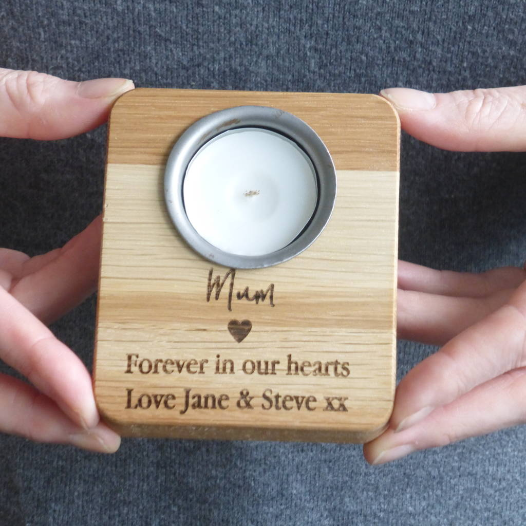 Personalised Wooden Memory Candle Holder By Edgeinspired