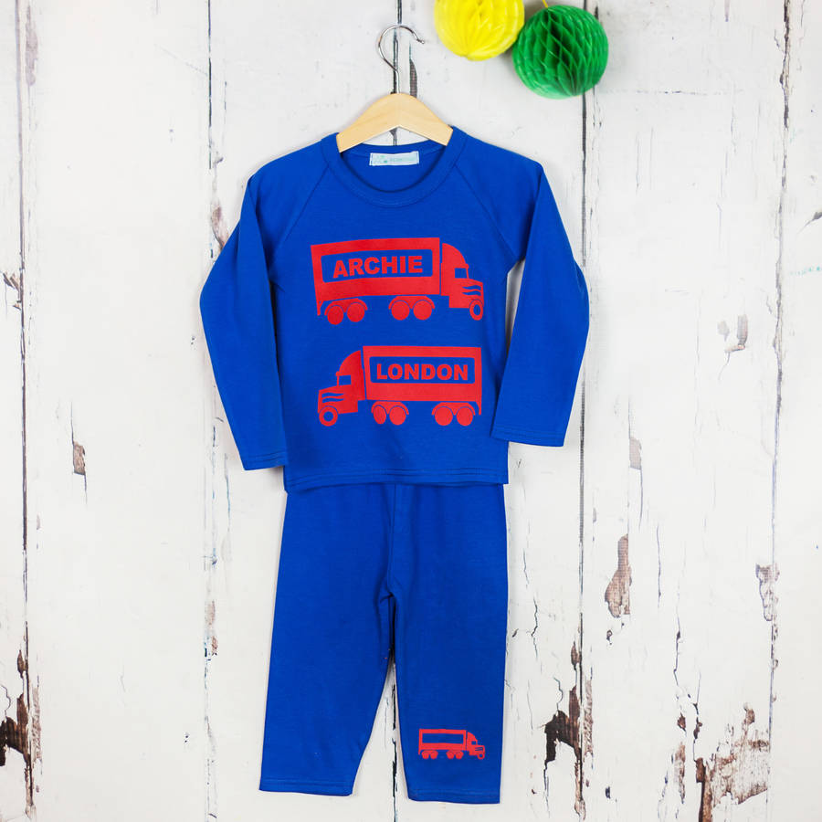 Personalised Kids Pyjamas Truck Print