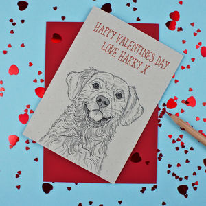 Golden Retriever Valentines Day Card - personalised cards