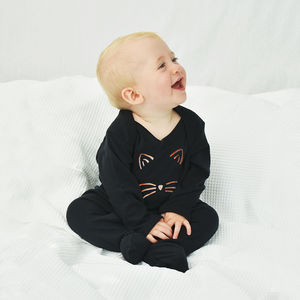 'Cat Face' Halloween Baby Romper Sleepsuit - summer sale