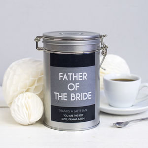 Wedding Thank You Coffee Gift Tin - wedding favours