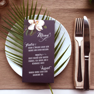 Black Magnolia Wedding Table Menus