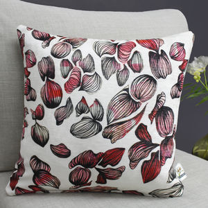 Inky Petal Print Floral Cushion