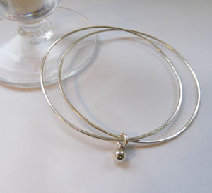 Delicate Double Silver Bangle With Silver Bead