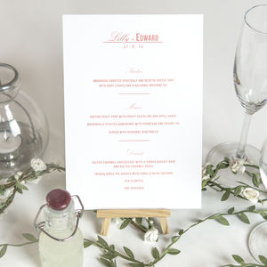 Traditional Style Wedding Menu Cards / Coral Pink