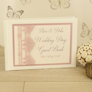 Personalised Vintage Lace Wedding Guest Book