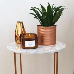 White Marble And Copper Side Table