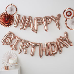 Rose Gold Pick And Mix Happy Birthday Balloon Bunting - decoration