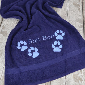 Personalised Doggy Paw Embroidered Towel