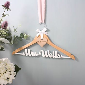 Wooden Wedding Dress Hanger With White Wording