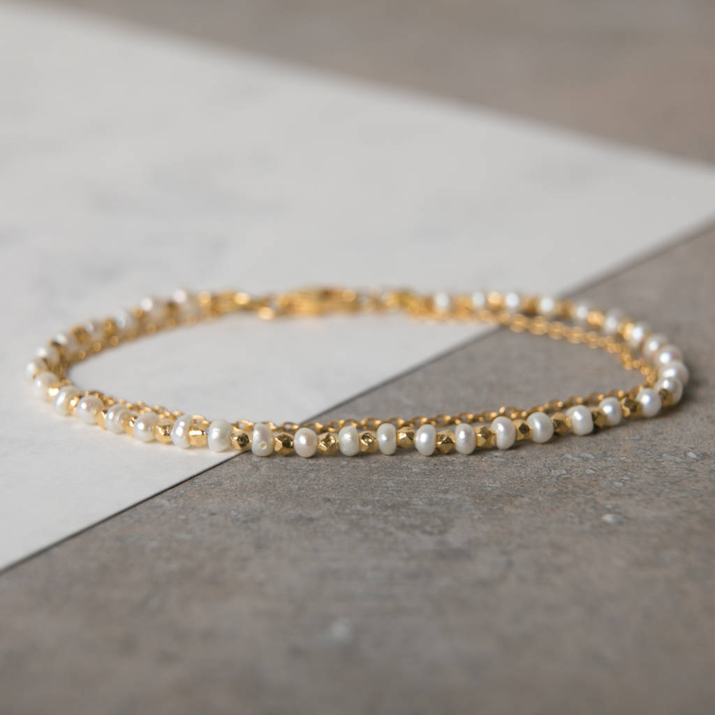 Pearls And Gold Chain Stacking Bracelet