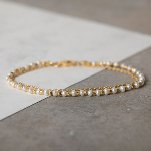 Pearls And Gold Chain Stacking Bracelet - more