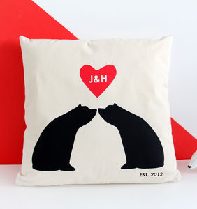 Bear Couple Silhouette, Personalised Cushion Cover - best wedding gifts