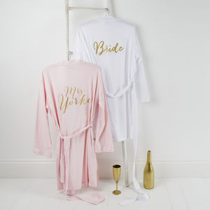 Bride Hen Party Pink Or White Wedding Day Robe - one week to go