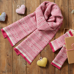 Ladies Pink Scarf And Mitten Gift Set