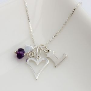 Personalised Childs Heart Necklace With Birthstones - necklaces