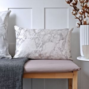 Long Geometric Marble Cushion - bedroom