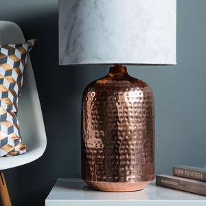Copper Hammered Pot Table Lamp Base - lighting