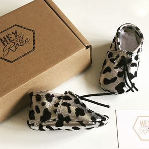 Silver Metallic Leather Cow Print Baby Booties - best gifts