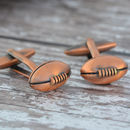 Copper Finish Rugby Ball Cufflinks